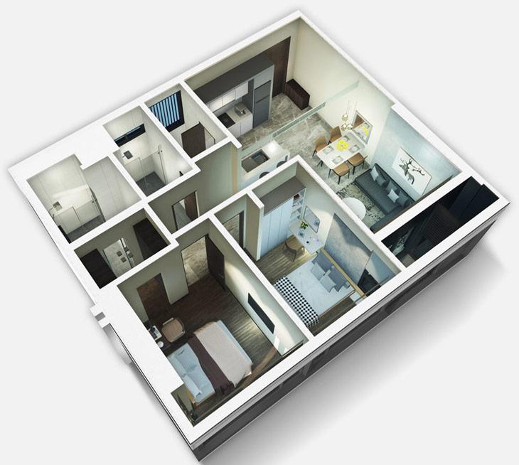 Thiết kế căn hộ 2A Kingdom101 Tô Hiến Thành