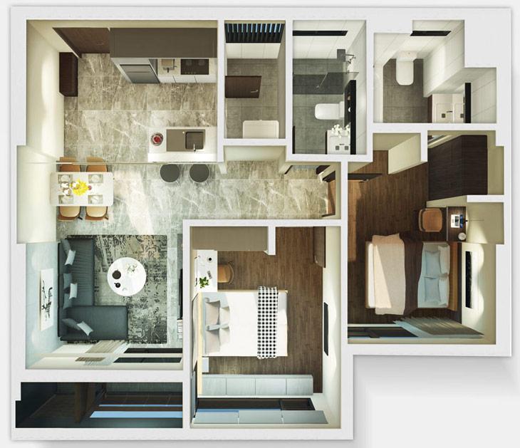 Thiết kế căn hộ 2B Kingdom101 Tô Hiến Thành