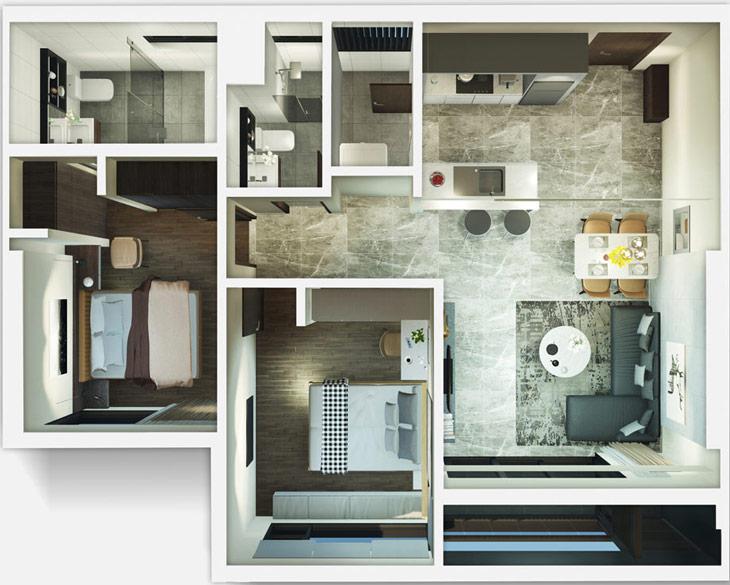 Thiết kế căn hộ 2C Kingdom101 Tô Hiến Thành