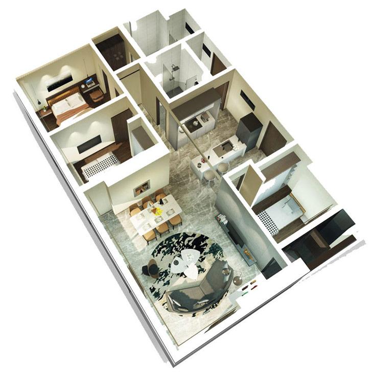 Thiết kế căn hộ 3 phòng ngủ Kingdom101 Tô Hiến Thành