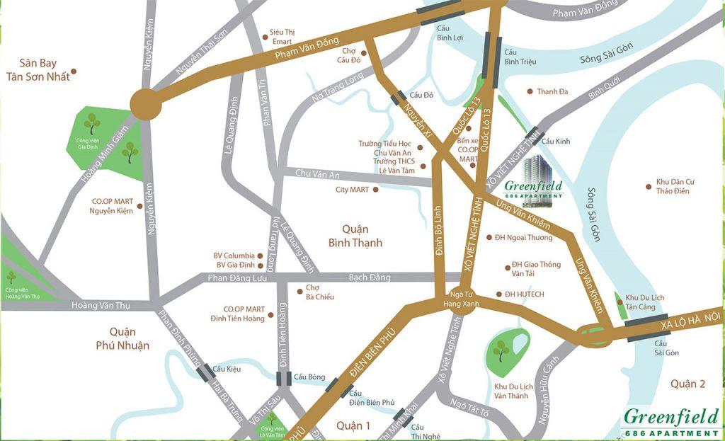 Vị trí căn hộ Green Field 686 Xô Viết Nghệ Tĩnh Bình Thạnh